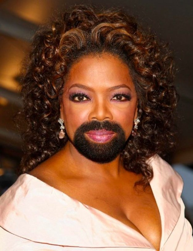 Oprah-24 Hilarious Female Celebrities With Beard Photos