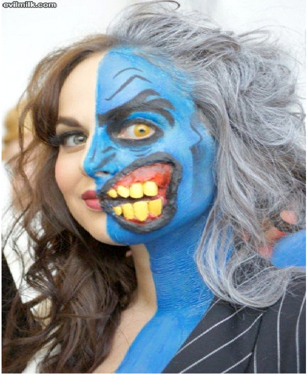 Talking Out Of The Side Of Her Mouth-Most Incredible Face Paintings