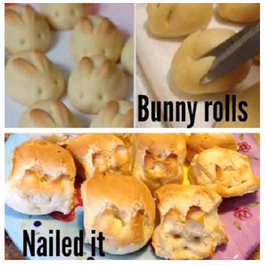 Bunny Roll Fail-Hilarious Pinterest Fails