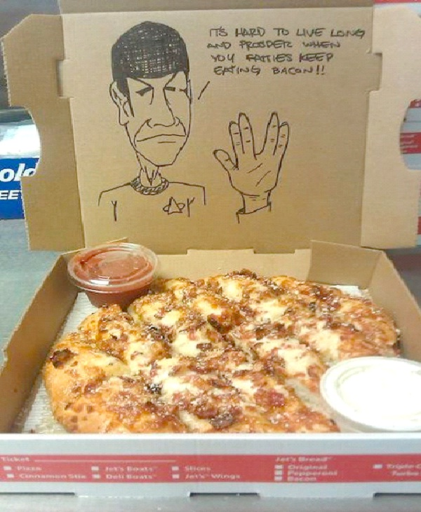 """Message From Dr. Spock-Funny """"Special Request"""" Pizza Box Drawings"""