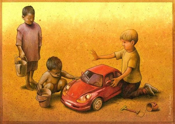 Jobs according to race-Thought-Provoking Satirical Illustrations By Pawel Kuczynski