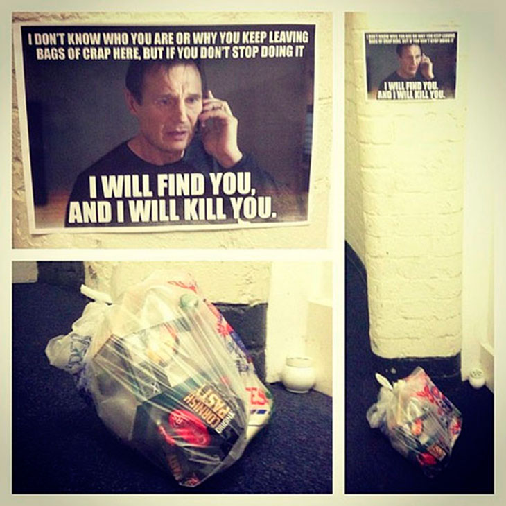 Best Use of Liam Neeson Meme-15 Aggressive Notes Left For Stupid Neighbors