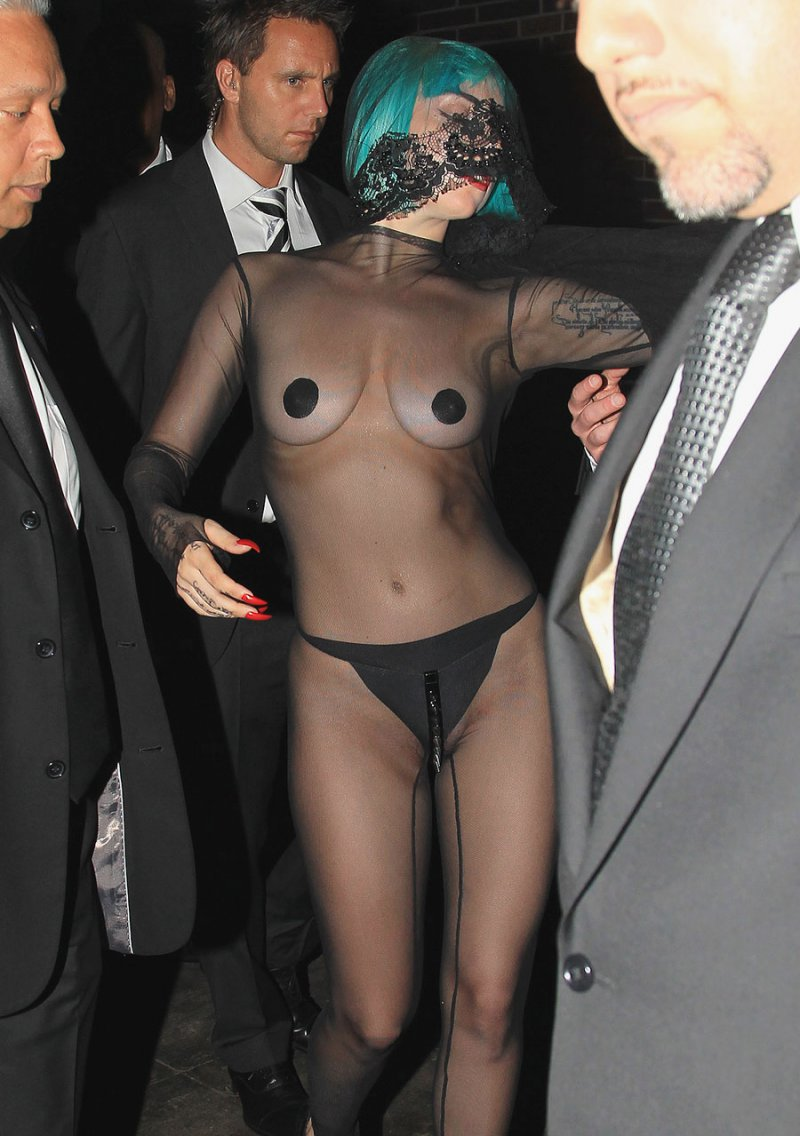Lady Gaga-12 Celebrities Who Were Spotted Wearing See-Through Clothes