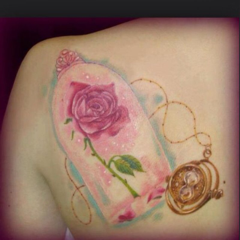Beauty and the Beast Rose-15 Cutest Disney Tattoos That Will Make You Want To Have One