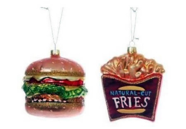 Burger and fries ornament unusual funny christmas