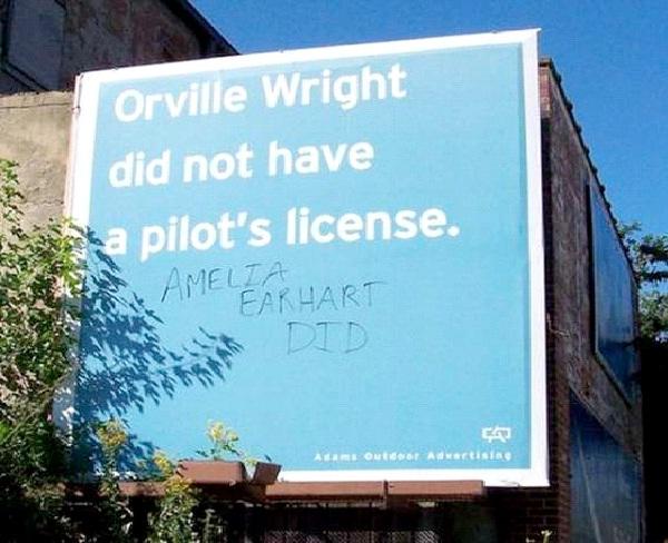 Amelia Earhart Trumps Orville Wright-Funniest Billboard Graffiti