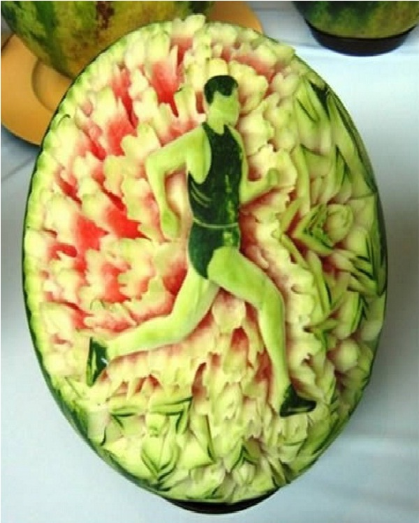 Running Man Watermelon-Amazing Watermelon Art