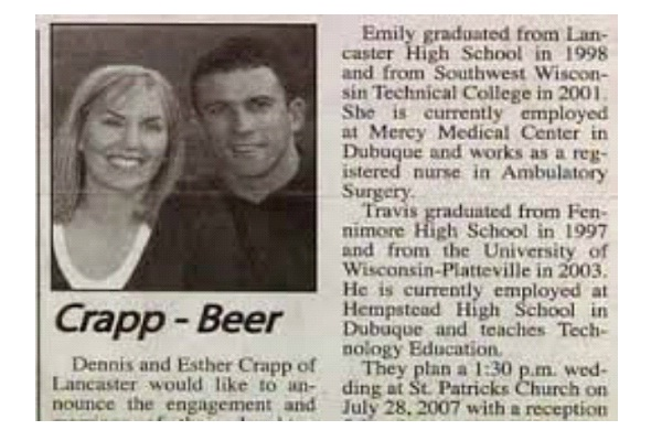 Crap Beer-12 Funniest Wedding Last Name Combinations Ever