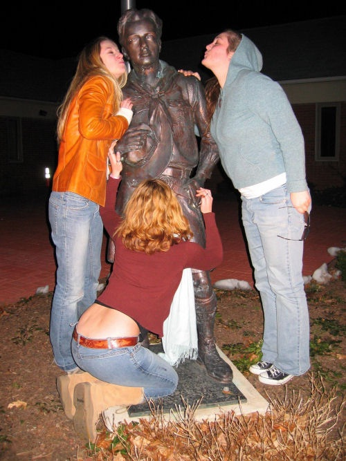 Lucky Bugger-People Being Nasty With Statues