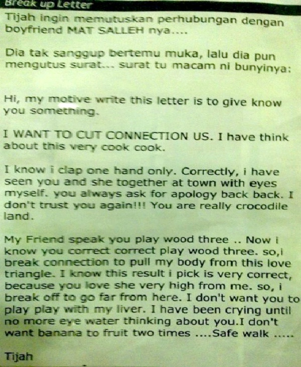 Most Confusing-Worst Break Up Letters