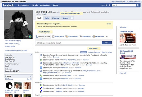 2008-12 Pictures That Show Facebook Design Changes Over The Years