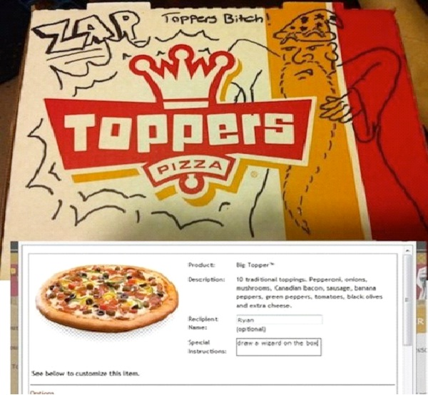 """Wizard-Funny """"Special Request"""" Pizza Box Drawings"""