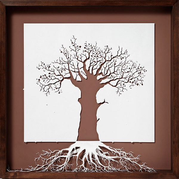 The tree-Papercut Sculptures From Single Sheet Of A4