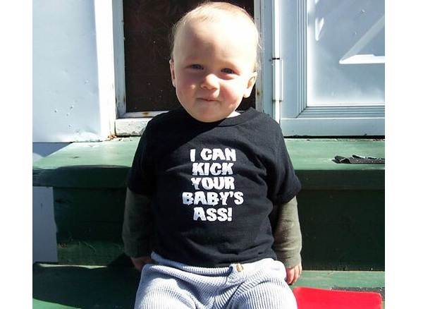 Bad Ass Baby-Funny Baby T-shirt Texts And Images