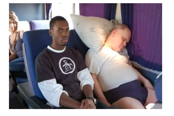 On The Train-Funny Ways People Found Sleeping