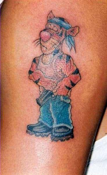 Thug Life Tigger-15 Most Inappropriate Disney Tattoos Found On The Internet