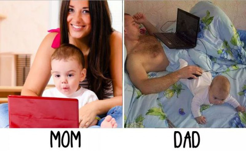 Work Time - Mom vs. Dad-15 Hilarious Differences Between Mom And Dad