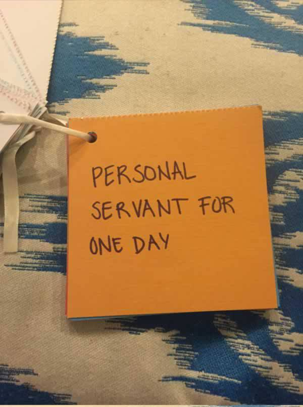 Personal Servant for One Day-15 Awesome Coupons Made By This Girl For Her BF On Their Anniversary