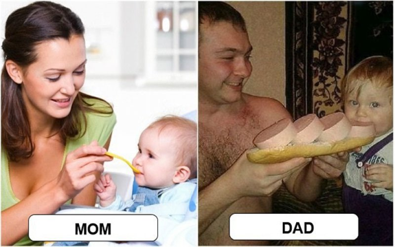 Meal Time - Mom vs. Dad-15 Hilarious Differences Between Mom And Dad