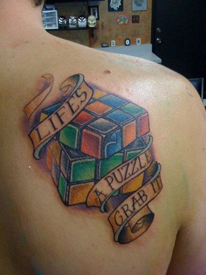 Rubiks-12 Amazing 3D Puzzle Tattoos Ever
