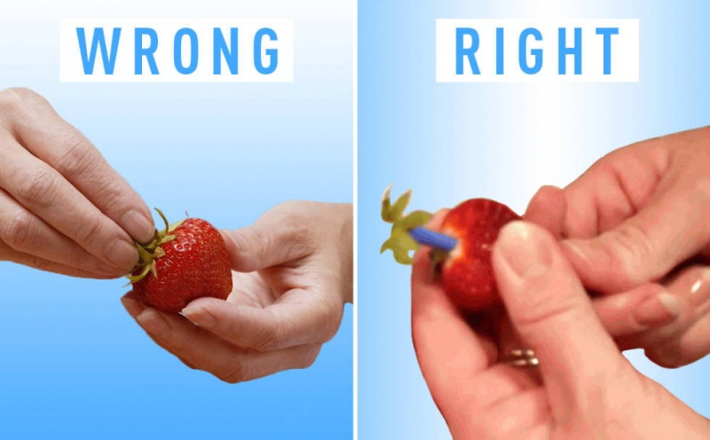 Use a Straw to Hull Strawberry Stem-15 Things You've Been Doing Wrong Your Entire Life