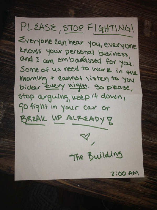 A Note to Couple Who Doesn't Stop Fighting-15 Aggressive Notes Left For Stupid Neighbors