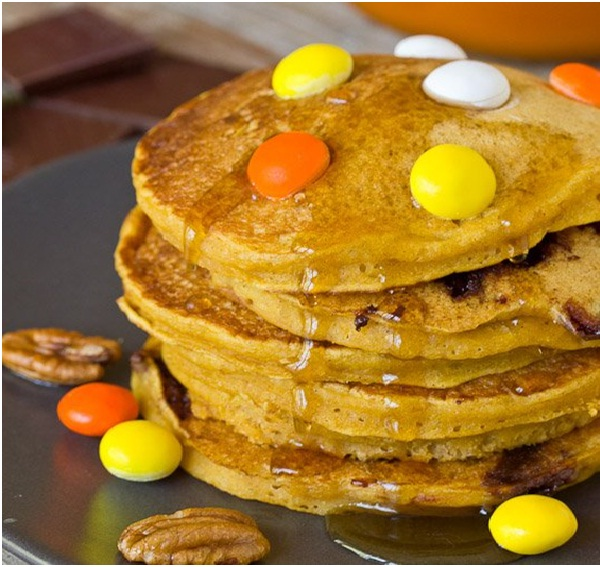 Pumpkin Chocolate Chunk Pancakes-Delicious Halloween Recipes