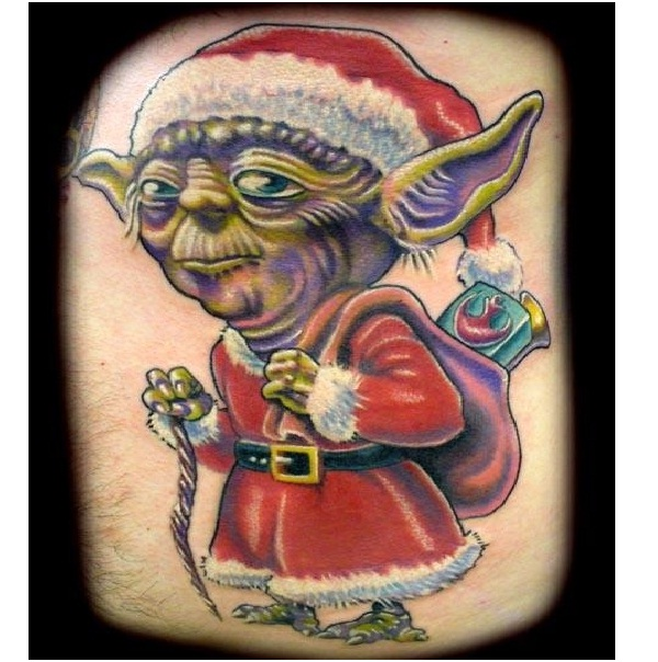 Yoda Christmas Tattoo-Craziest Christmas Tattoos