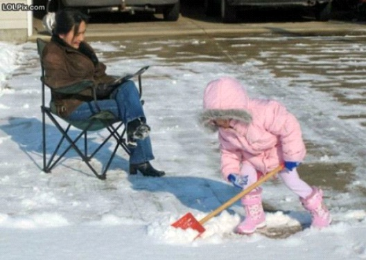 Shoveling Toddler-Worst Moms Ever