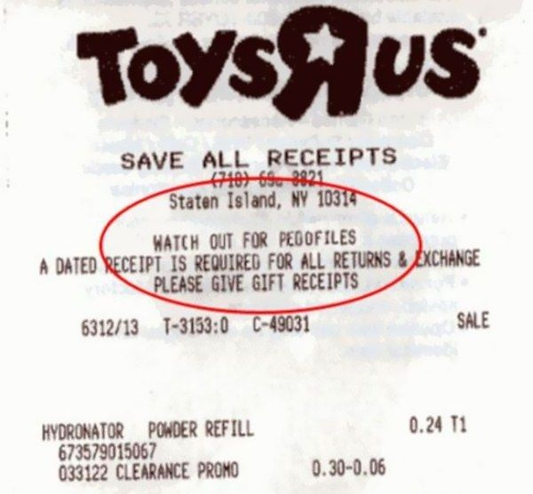 Scary warning-Funniest Receipts Of All Time