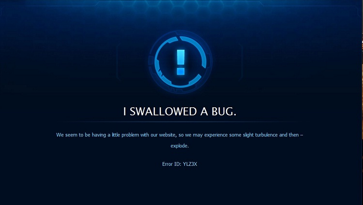 Bug swallowing is terrible-Funny Website Error Messages