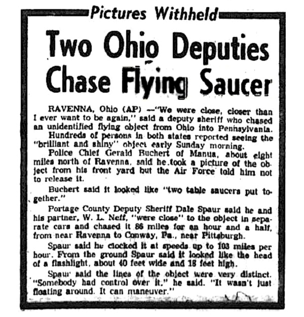 The Portage County Chase-Strange And Plausible UFO Sightings