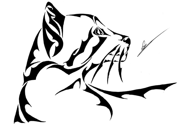 Side Profile Cat Tattoo Design-Cat Tattoos Designs