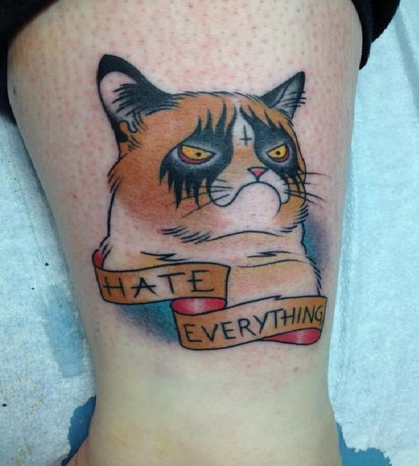 Grumpy cat-Wackiest Internet Inspired Tattoos