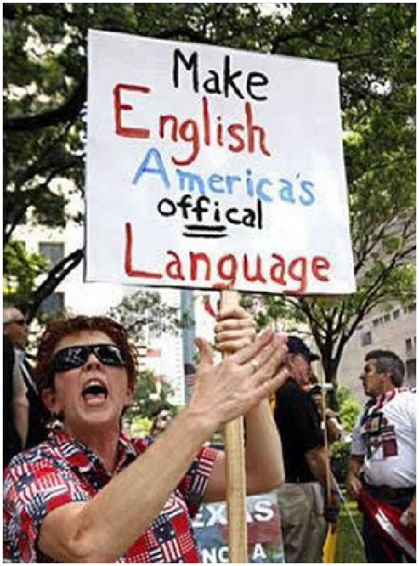 America's Official Language-Clever Protest Signs