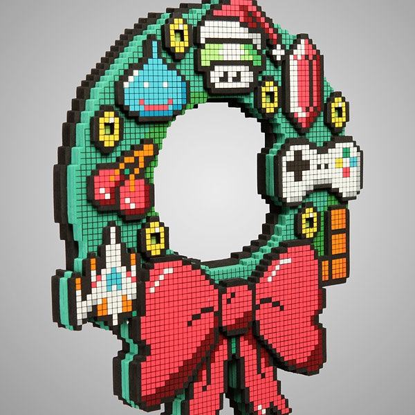 8 bit holiday wreath-Geeky Christmas Decorations