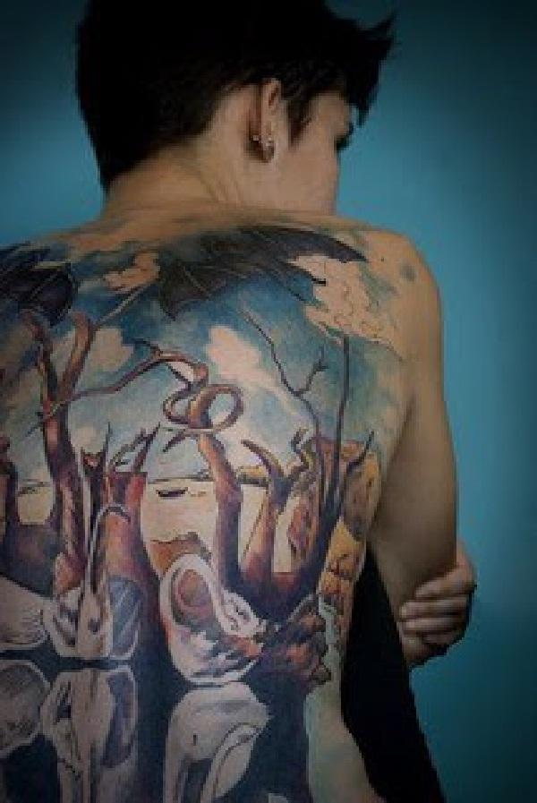 Swans reflecting elephants-Amazing Painting Tattoos