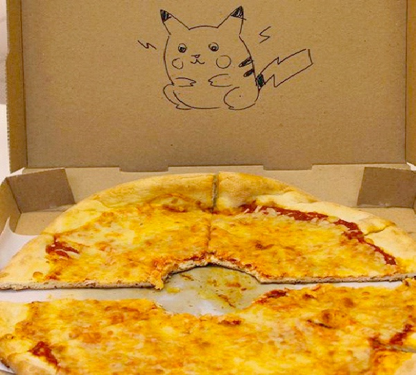 """Pikachu Ate It-Funny """"Special Request"""" Pizza Box Drawings"""