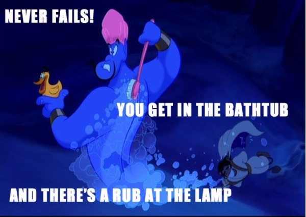 Bath tub-12 Funny Quotes Told By Genie From Disney's Aladdin TV Show