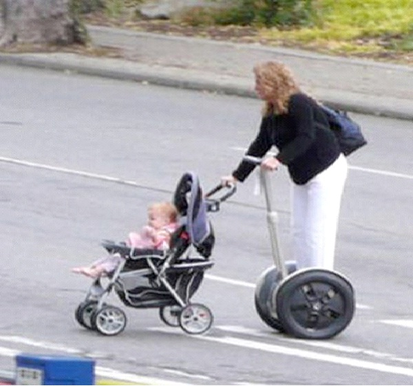 Mom On Wheels-Funniest Pics Of Lazy People