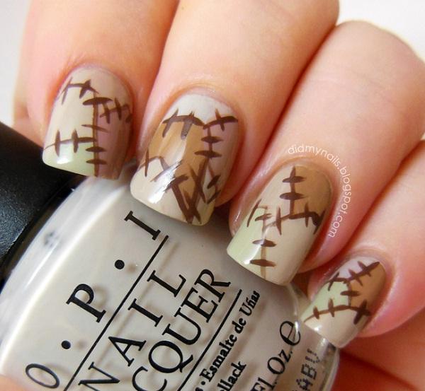 Frankenstein Patch-Halloween Nail Art