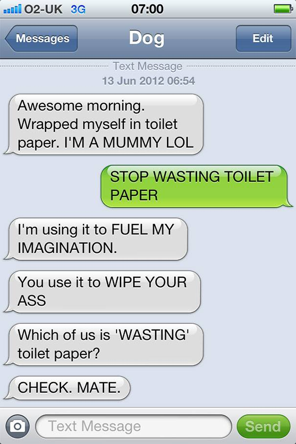 Who is Wasting the Toilet Paper?-15 Hilarious Dog Texts