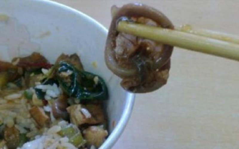 Condom In Rice Bowl-15 Most Disgusting Things People Ever Found In Their Food