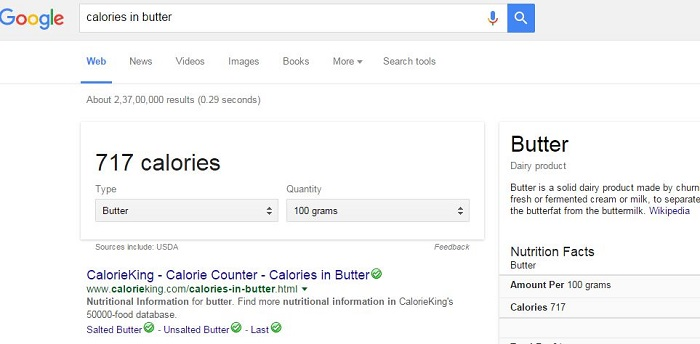 Check Nutritional Information of Foods-15 Google Hacks That Make Your Life Simpler
