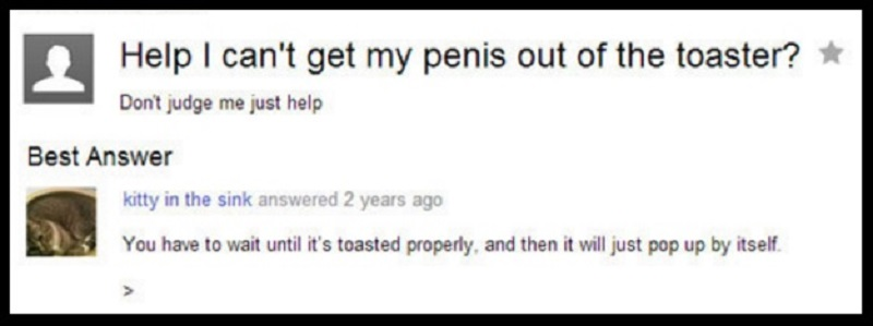 Penis in Toaster-15 Dumb Yahoo Questions That Will Make You Cringe