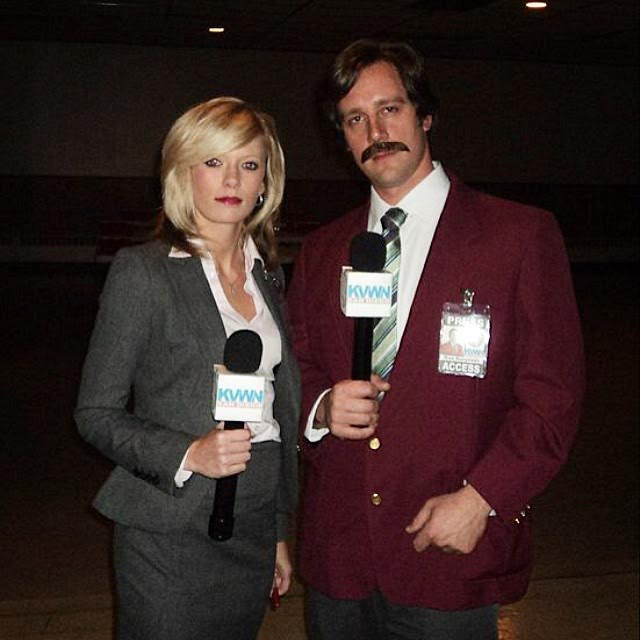 Ron Burgundy and Veronica Corningstone Costume-Fifteen Halloween Couple Costumes That Are Super Amazing