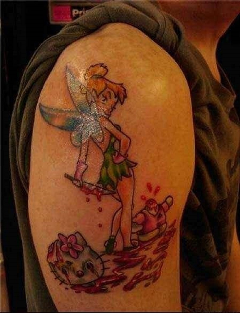 Oh Tinker Bell, What Have You Done?-15 Most Inappropriate Disney Tattoos Found On The Internet