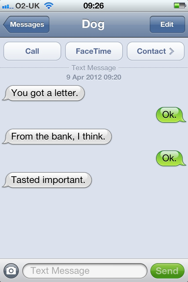 The Letter is Yummy, but not as much as Postman's Hand-15 Hilarious Dog Texts