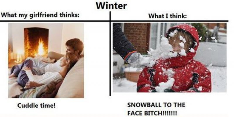 Winter Time-15 Hilarious Differences Between What Your Girlfriend Thinks And Reality