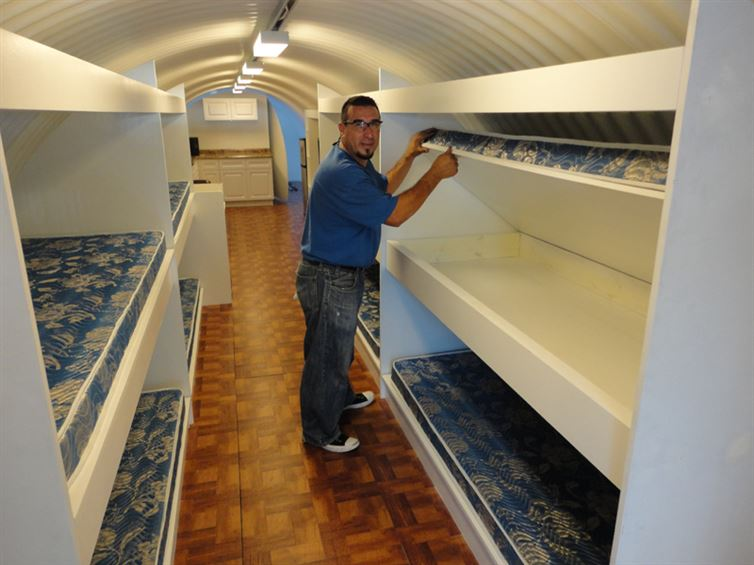 Storage Space of Extra Bunk Beds-Awesome House Built In An Underground Pothole